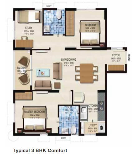 provident kenworth apartment 3bhk 1048sqft 1