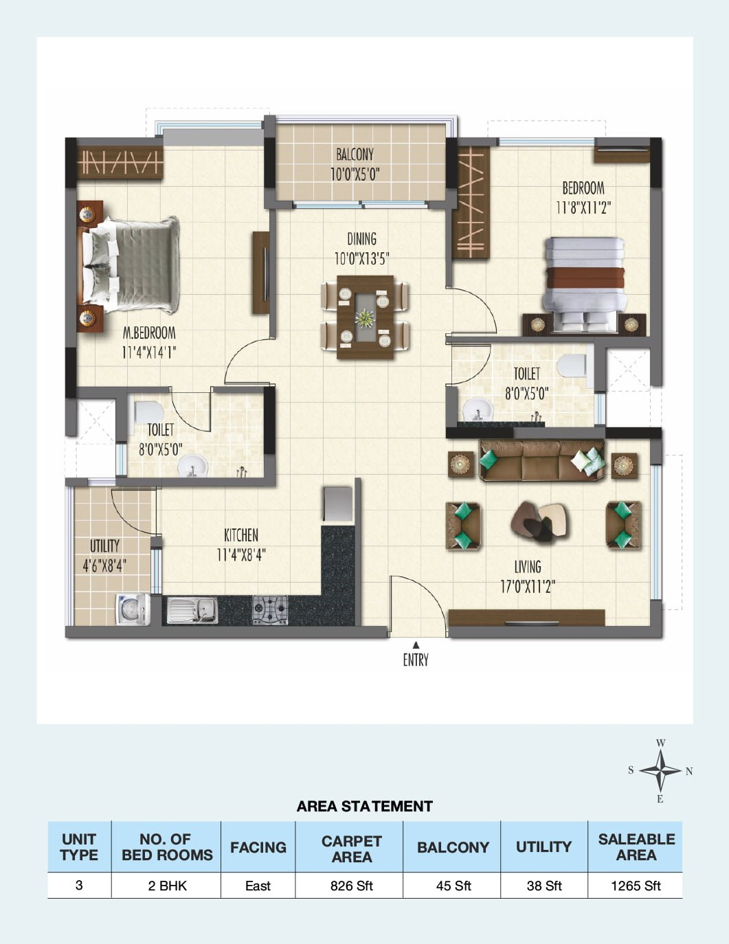 ramky one galaxia phase 2 apartment 2 bhk 1265sqft 20212304122334