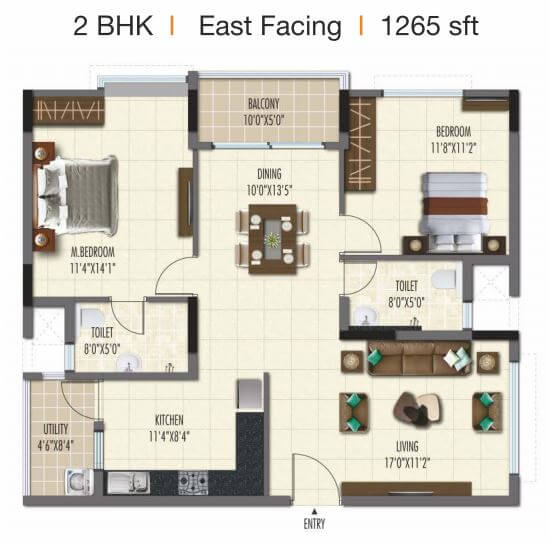ramky one galaxia phase 2 apartment 2bhk 1265sqft 1