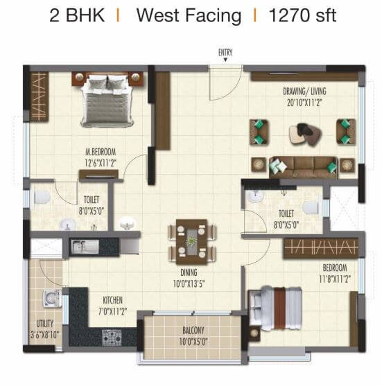 ramky one galaxia phase 2 apartment 2bhk 1270sqft 1