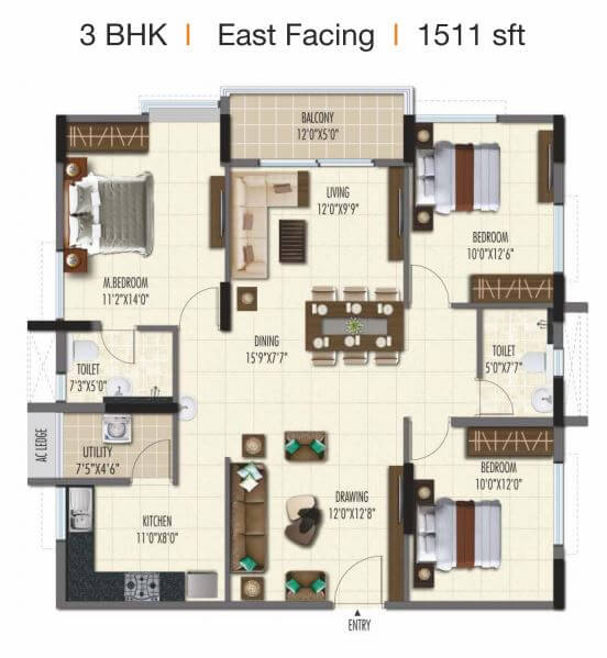 ramky one galaxia phase 2 apartment 3bhk 1511sqft 1