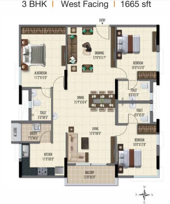 ramky one galaxia phase 2 apartment 3bhk 1665sqft 1