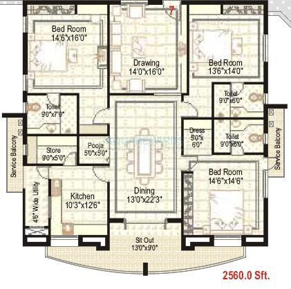 ramky towers apartment 3bhk 2560sqft1