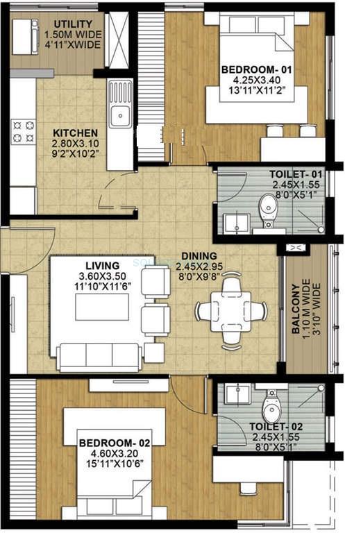 salarpuria necklace pride apartment 2bhk 1280sqft1