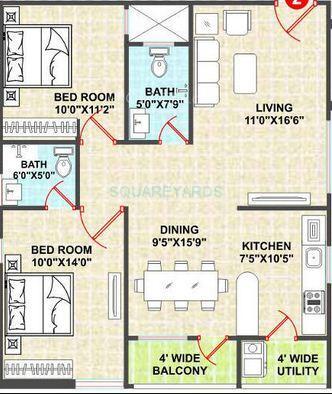 shanta sriram sunshine residency apartment 2bhk 1100sqft1
