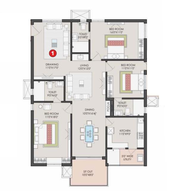 sri aditya athena apartment 3bhk 2030sqft 121
