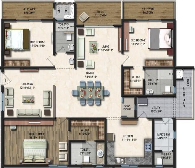 sumadhura acropolis apartment 3bhk 2615sqft 1