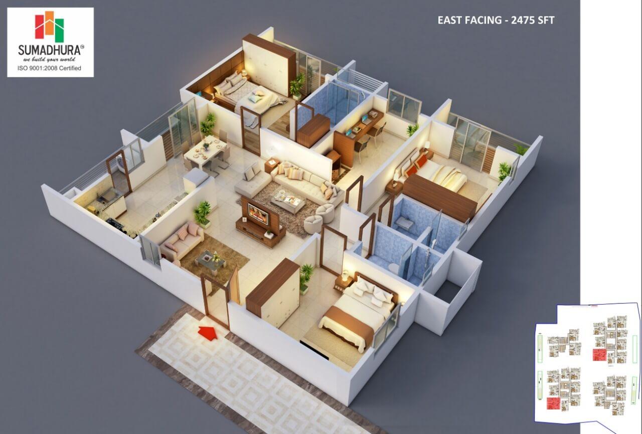 sumadhura horizon apartment 3bhk study 2475sqft 1