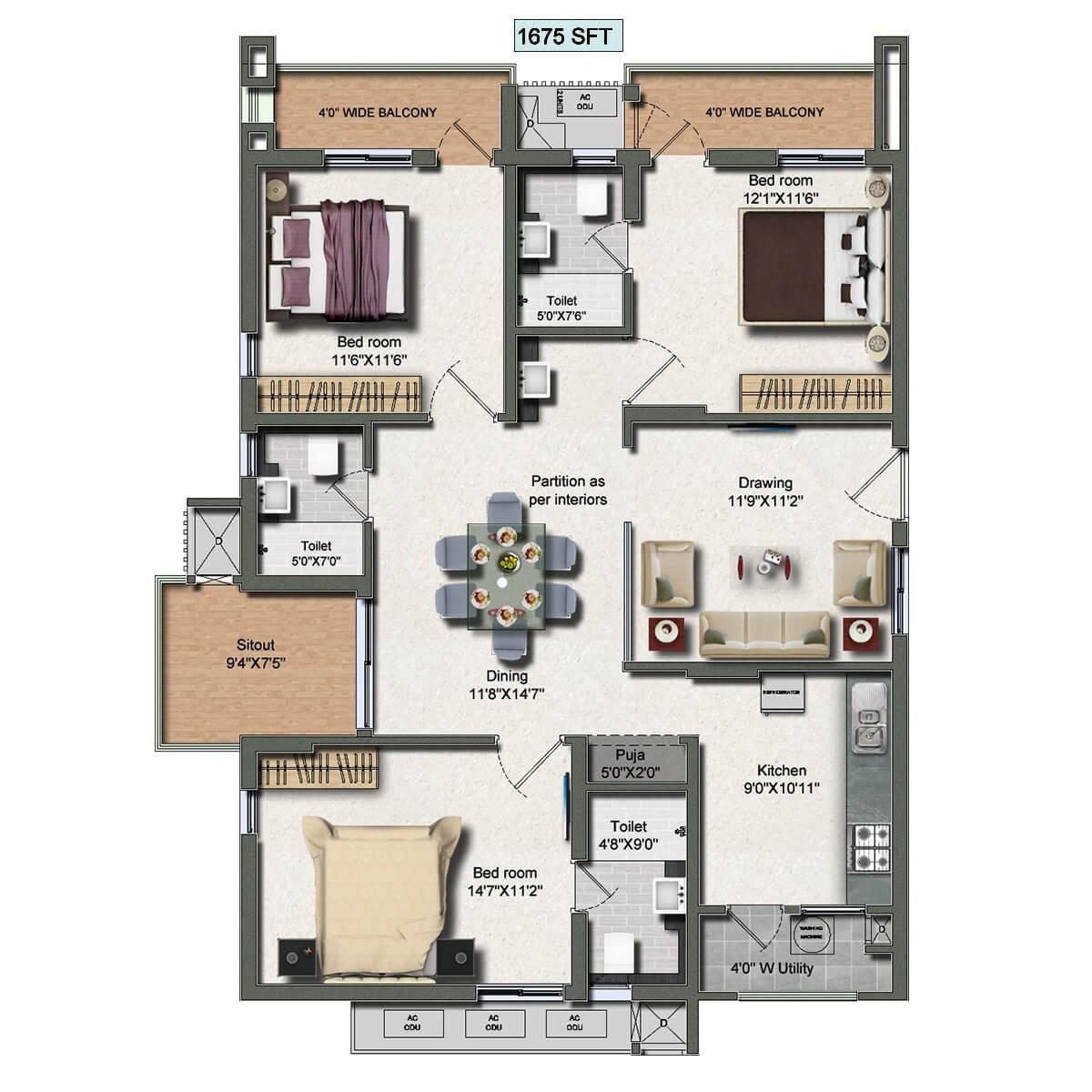 vertex panache apartment 3bhk 1675sqft 1