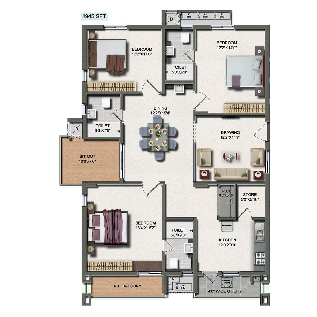 vertex panache apartment 3bhk 1945sqft 1
