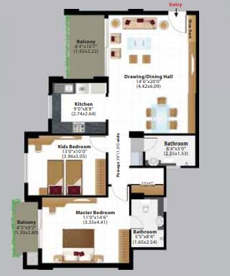ashiana amantran phase 2 apartment 2 bhk 843sqft 20203303113303