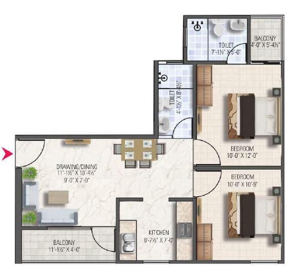 dhanuka sunshine aditya apartment 2bhk 898sqft 1