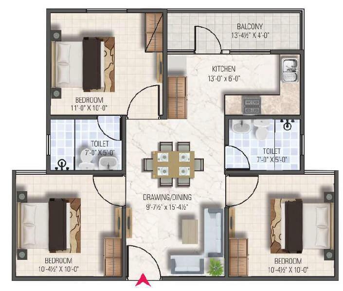 dhanuka sunshine aditya apartment 3bhk 982sqft1