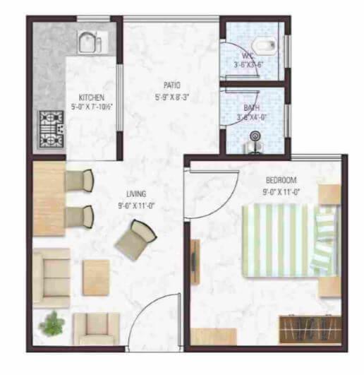 manglam aadhar apartment 1bhk 325sqft 1