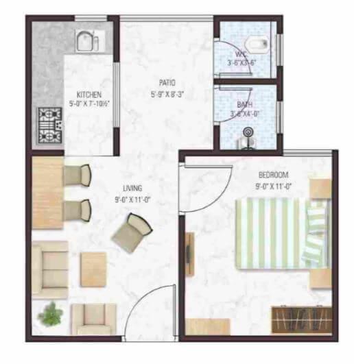 manglam aadhar apartment 1bhk 325sqft 61