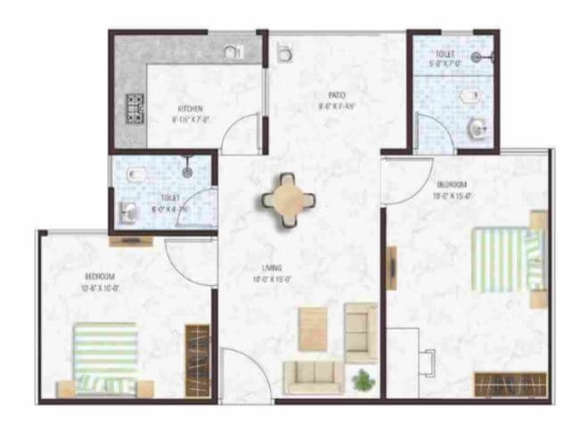 manglam aadhar apartment 2bhk 618sqft 61