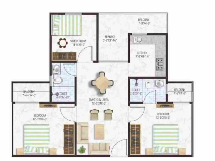 manglam aadhar apartment 3bhk 645sqft 1