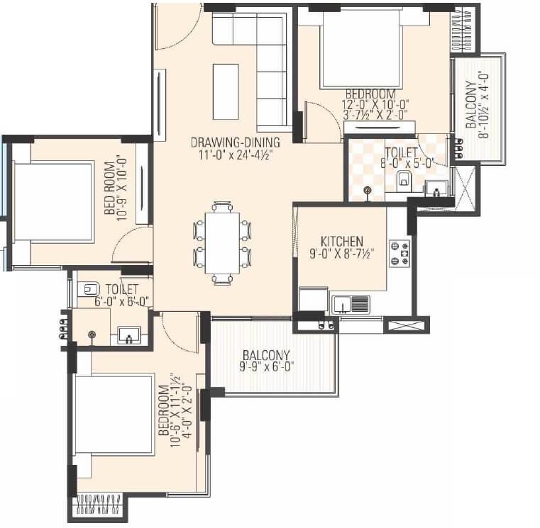 manglam dream avenue apartment 3bhk 842sqft 1