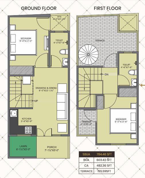 one realty nakshatra villa 2bhk 784 terrace sqft 1