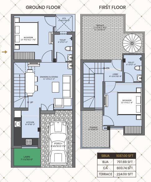one realty nakshatra villa 2bhk terrace 1037sqft 1