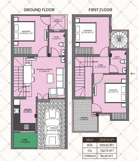 one realty nakshatra villa 3bhk terrace 1208sqft 1
