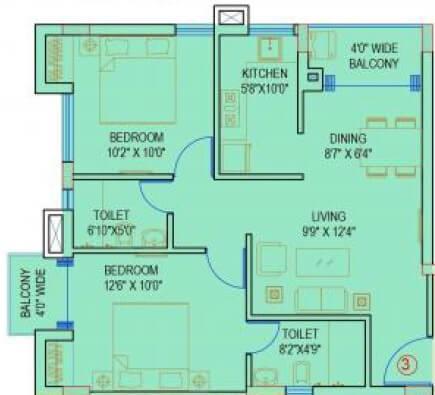 siddha aangan apartment 2bhk 620sqft 1