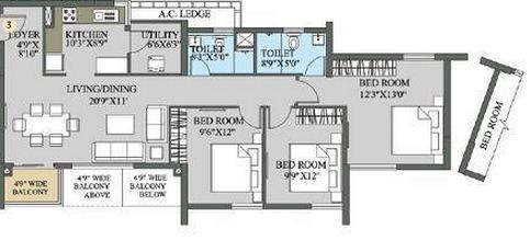 aadya tolly exotica apartment 3bhk 1529sqft 1