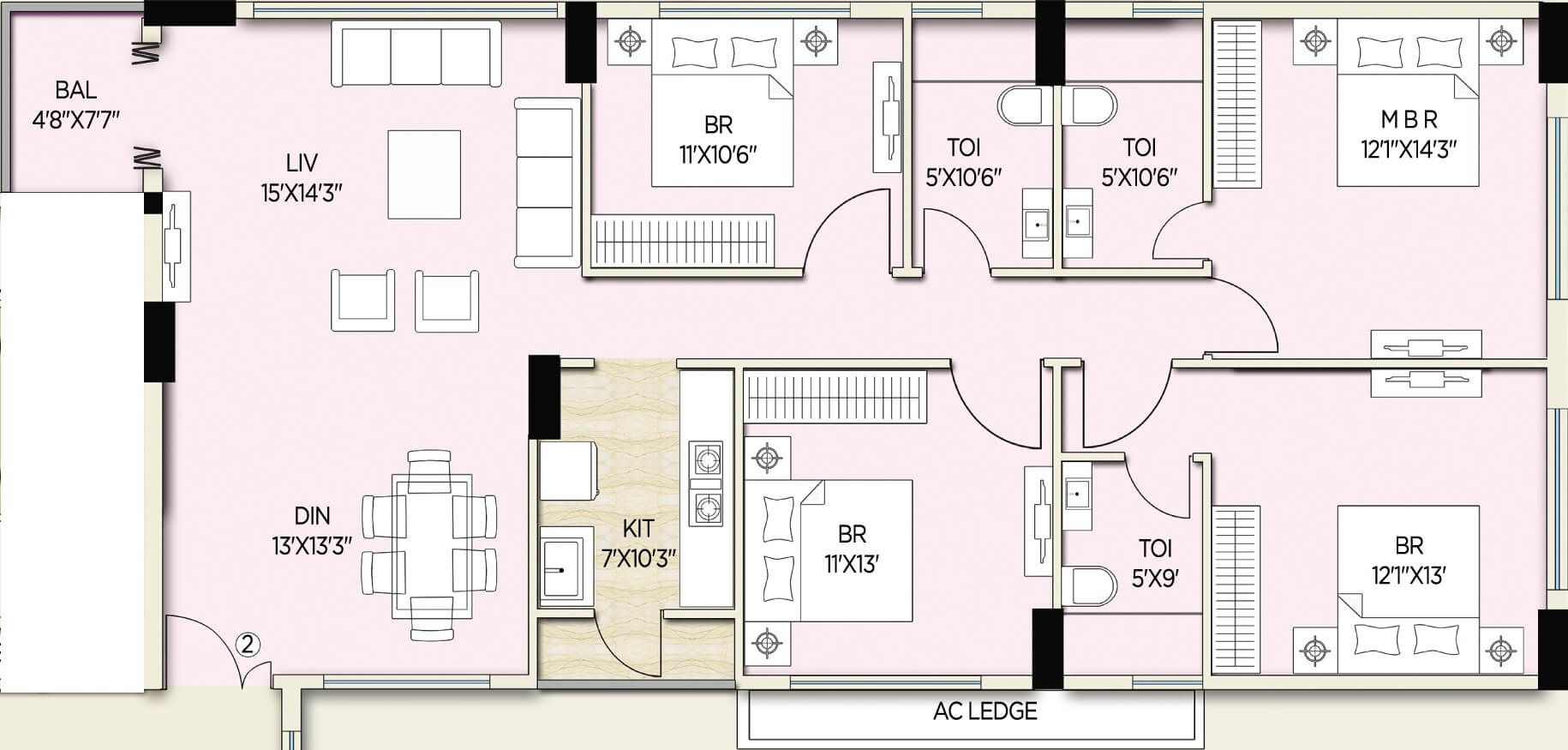 amit realty and shree rsh group ecos apartment 4bhk 2077sqft 1