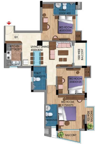 belani zest apartment 3bhk 1541sqft 1