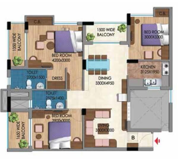 belani zest apartment 3bhk 1641sqft 1