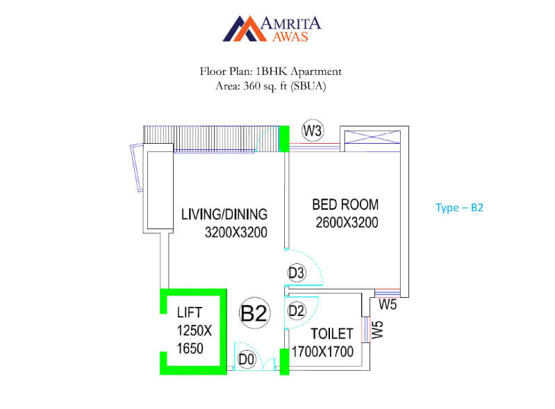 bga amrita awas apartment 1bhk 360sqft 1