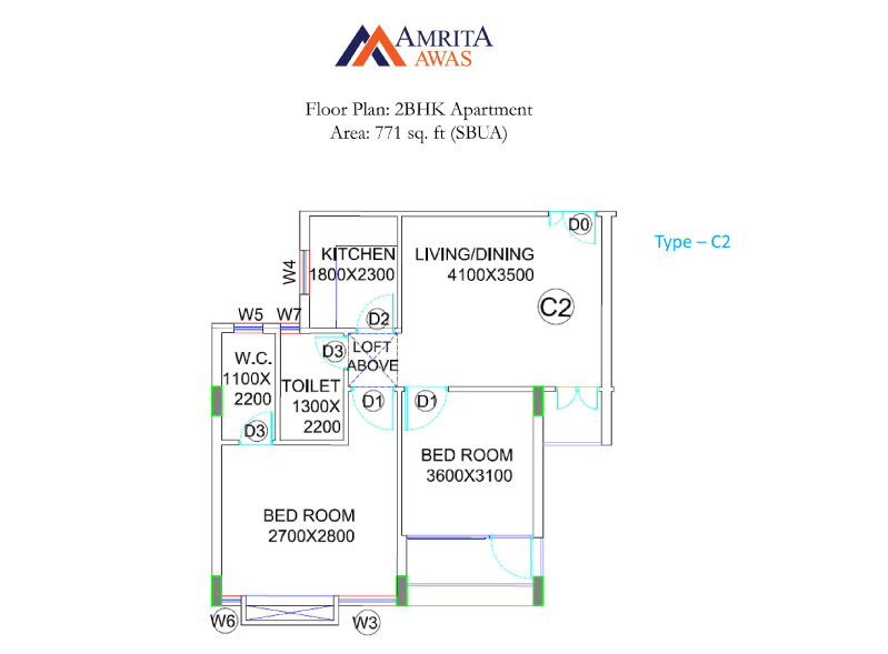 bga amrita awas apartment 2bhk 771sqft 1