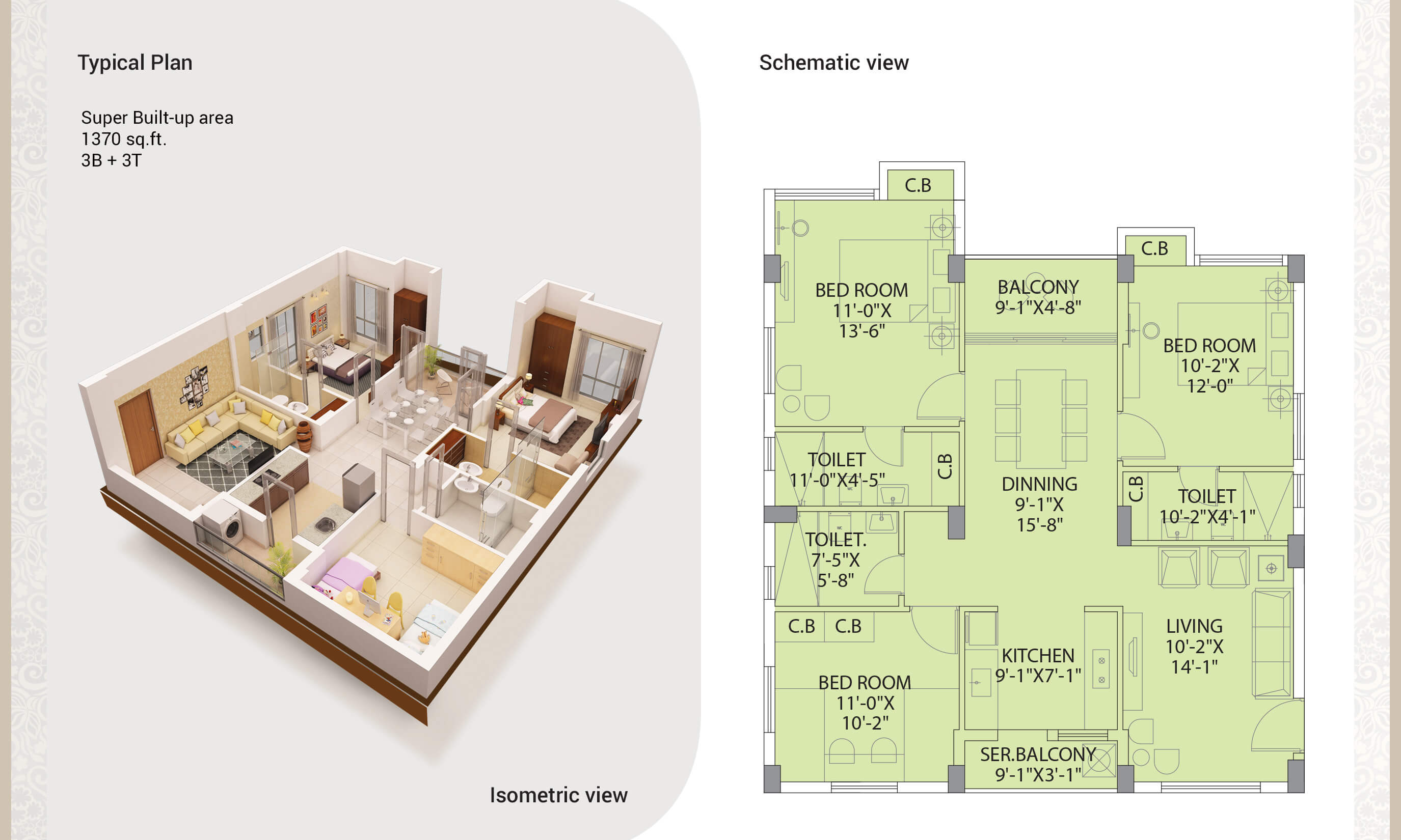 dtc southern heights apartment 3bhk 1370sqft 1