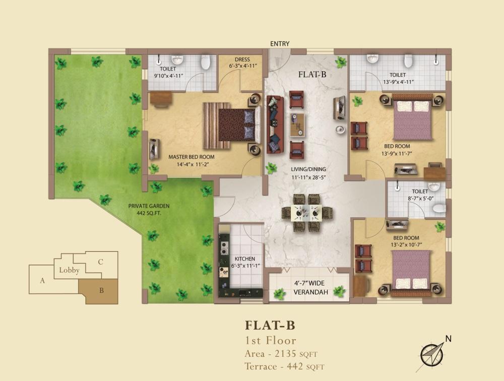 eden eden imperial apartment 3bhk 2135sqft