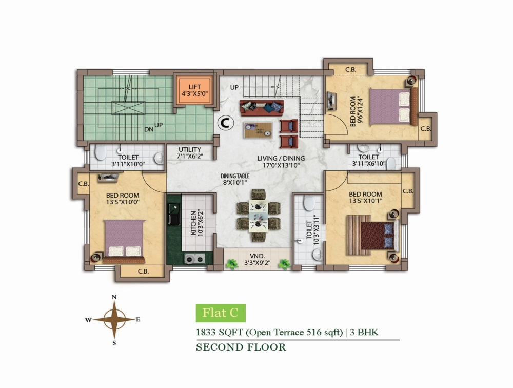 eden roma phase 4 apartment 3bhk 1833sqft