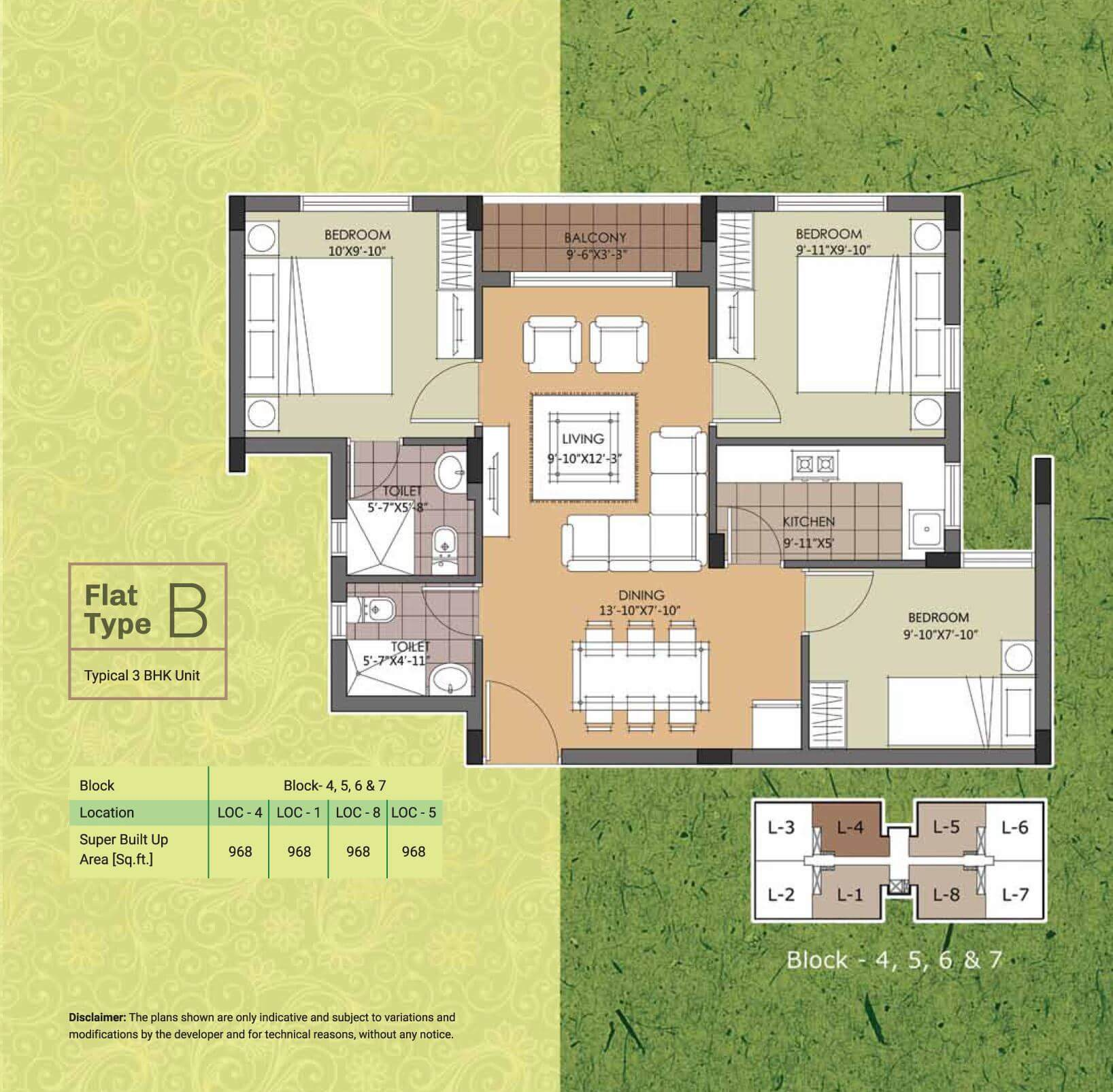 emami swan green apartment 3bhk 968sqft 1