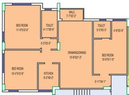 fort oasis apartment 2bhk 1301sqft 1