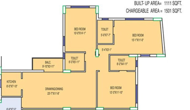 fort oasis apartment 3bhk 1501sqft 1