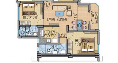 fort oasis apartment 3bhk 745sqft 1