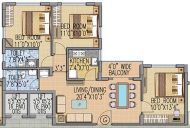 fort oasis apartment 3bhk 907sqft 1