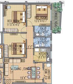fort oasis apartment 3bhk 982sqft 1