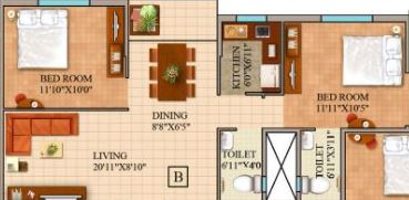 gm meena wood apartment 2bhk 1044sqft