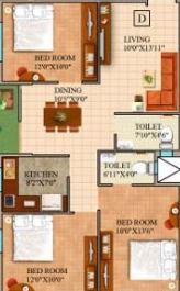 gm meena wood apartment 3bhk 1165sqft
