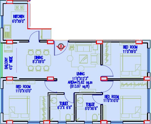 gurukul grande apartment 3bhk 1001sqft 1