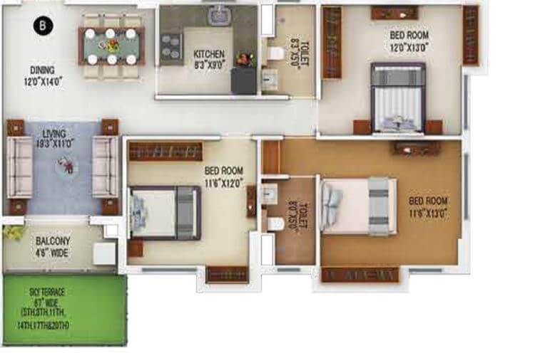 merlin 5th avenue apartment 3bhk 1164sqft 1