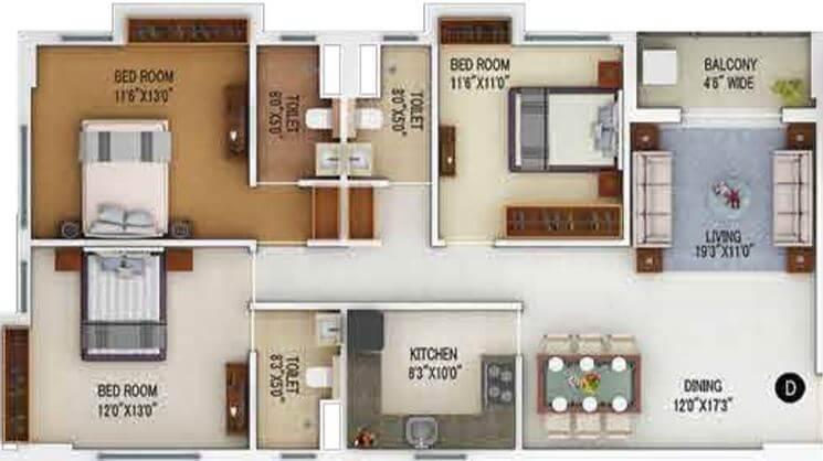 merlin 5th avenue apartment 3bhk 1247sqft 1