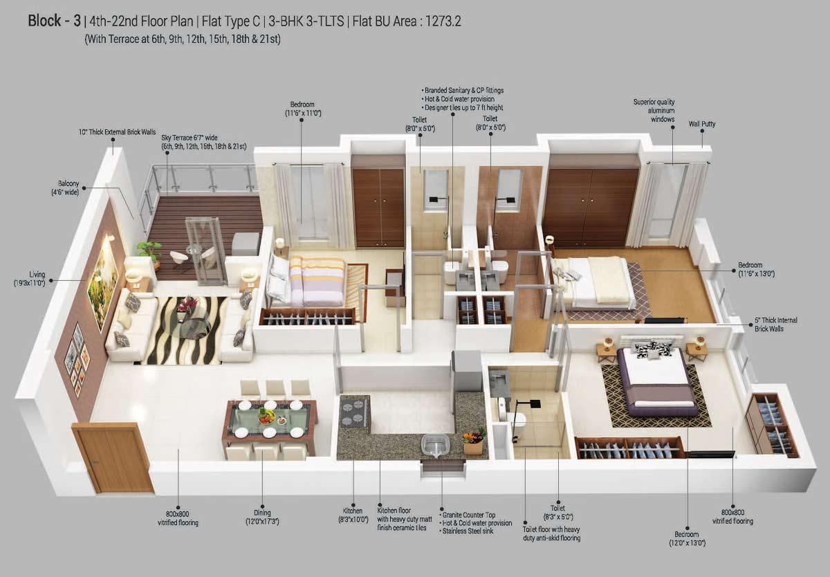 merlin 5th avenue apartment 3bhk 1273sqft 1