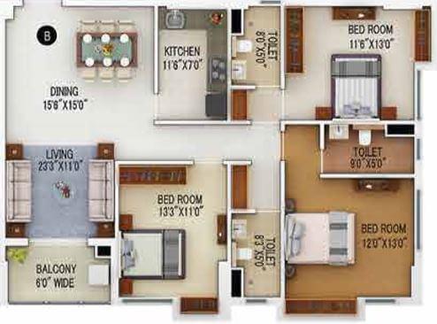 merlin 5th avenue apartment 3bhk 1420sqft 1