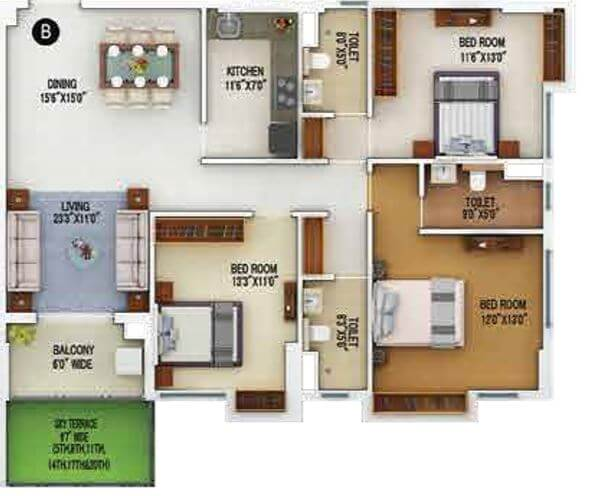 merlin 5th avenue apartment 3bhk 1461sqft 1