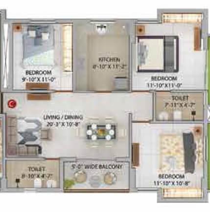 merlin iris apartment 3bhk 830sqft 1